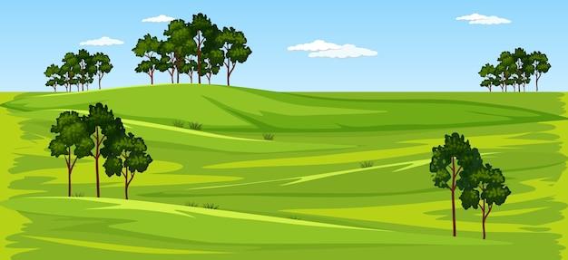 Blank green meadow nature landscape scene Free Vector