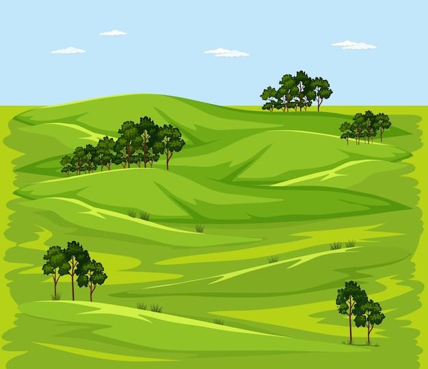 空白の緑の牧草地の自然景観シーン 無料ベクター