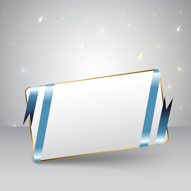 Blank greeting card with blue ribbon and golden frame with lights flat Free Vector