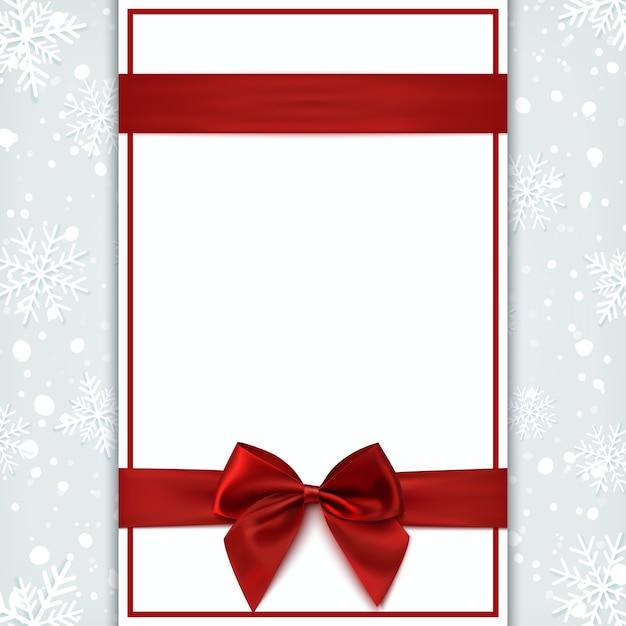 赤いリボンと弓の空白のグリーティングカード。招待状、チラシ、またはパンフレットのテンプレート。図。 Premiumベクター