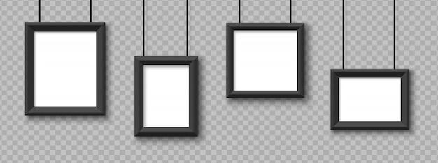 Blank hanging frames. pictures, photo frames    on transparent background Premium Vector