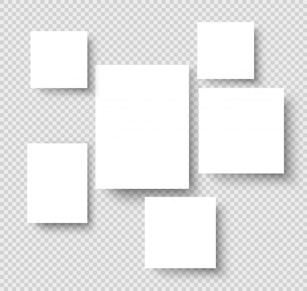 Blank hanging photo frames. picture gallery paper rectangular borders. mockup Premium Vector