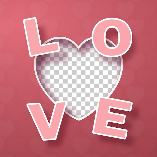 Download Blank heart shape with text love on pink Vector | Premium ...