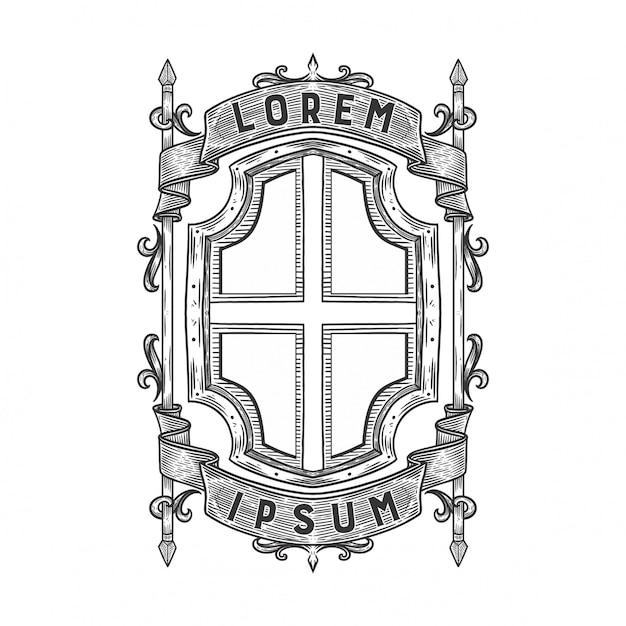 Пустая геральдическая эмблема Premium векторы