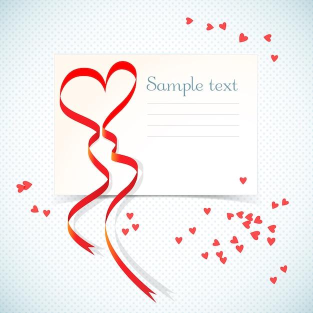 Carta regalo amore vacanza vuota con campo di testo e nastro rosso del cuore Vettore gratuito