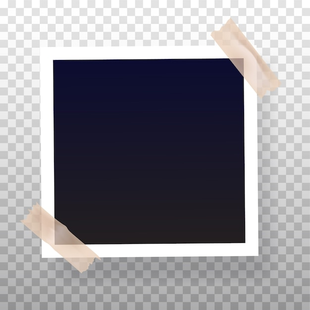 Blank instant photo frame glued on color tape Premium Vector