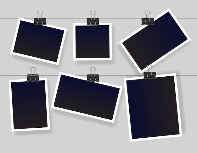 Blank instant photo frame set hanging on a clip. black empty vintage photoframe templates.  illustration isolated on grey background. Premium Vector