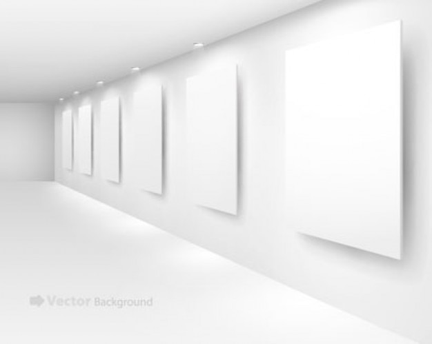 Blank interiors exhibition boards on a wall Free Vector