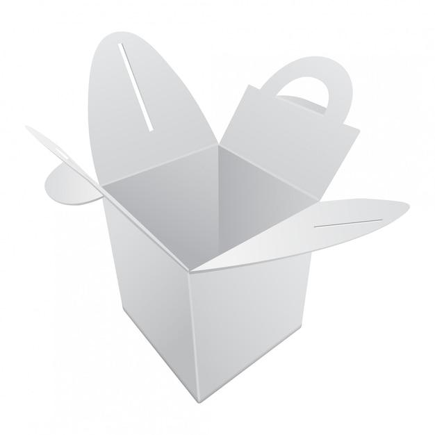 空白のクラフト紙ギフトボックス。ハンドル付きホワイトコンテナ。ギフトボックステンプレート、段ボールパッケージ Premiumベクター