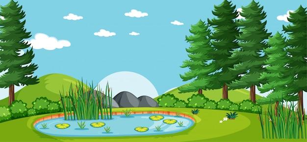Пустой пейзаж в природном парке сцены с множеством сосен и болота Бесплатные векторы