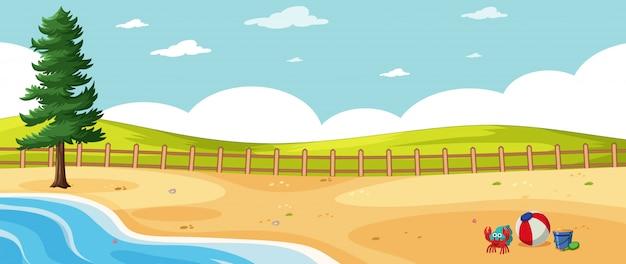 Paesaggio vuoto nella scena della spiaggia della natura con un pino e un cielo vuoto Vettore gratuito
