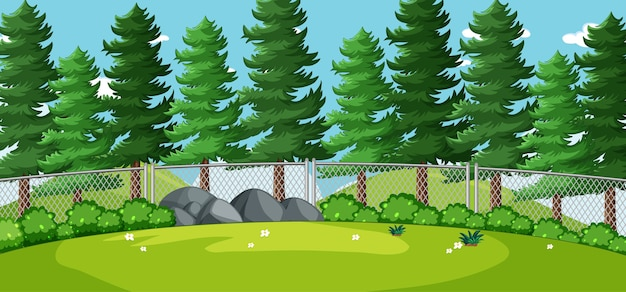 Blank landscape in nature park scene with many pines Free Vector
