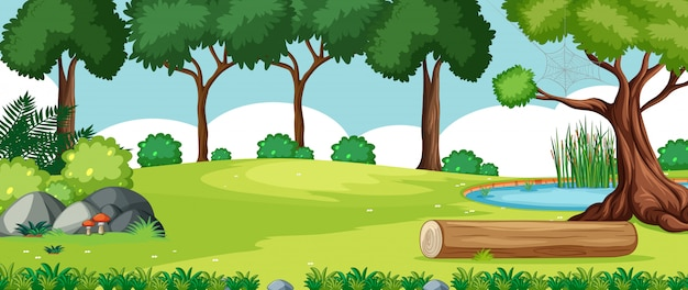 Blank landscape in nature park scene with many trees and swamp Free Vector