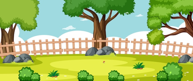 Blank landscape in nature park scene with some trees Free Vector