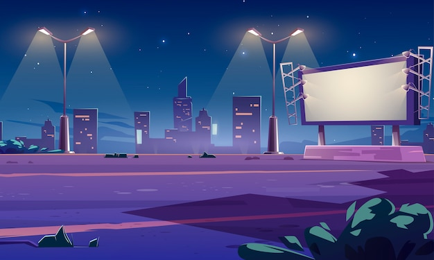 Blank large billboard on street in town at night. cartoon cityscape with empty road, street lights and white advertising bigboard with lamps. big marketing poster Free Vector