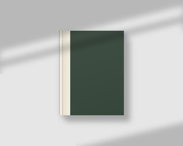 シャドウオーバーレイ付きの空の雑誌または本の表紙。現実的な閉じた本。 。テンプレート 。リアルなイラスト。 Premiumベクター