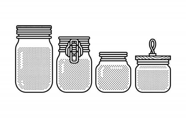 Blank mason jar bottle set Premium Vector
