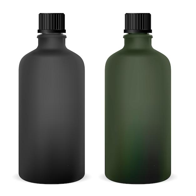 Blank medical glass bottle. medicine vial for syrup. cap Premium Vector
