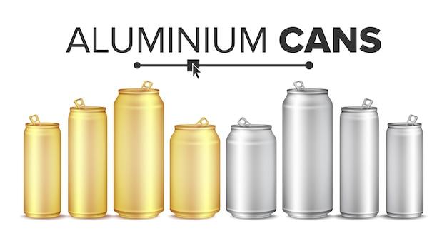 Blank metallic cans Premium Vector