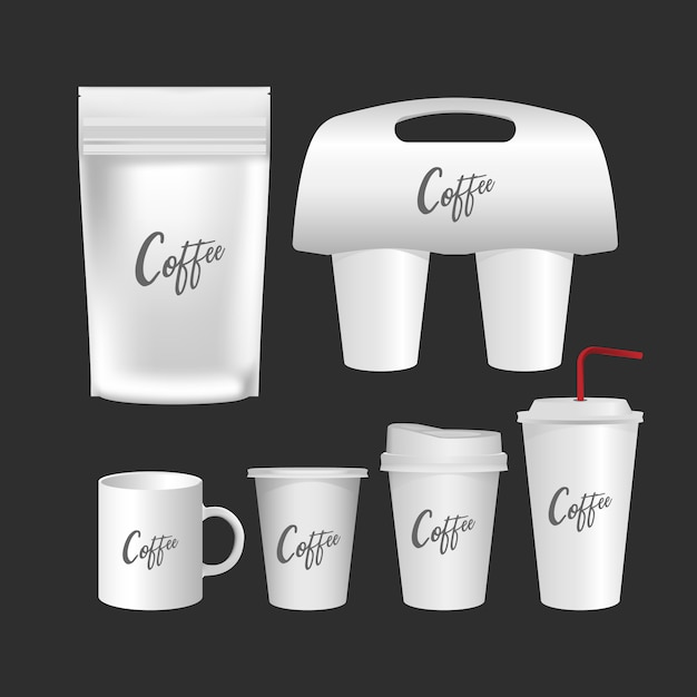 Blank mug, coffee cup realistic set isolated on white background. Premium Vector