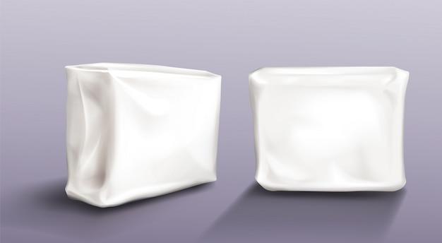 空白のナプキンパックセットウェットワイプタオルパッケージ 無料ベクター