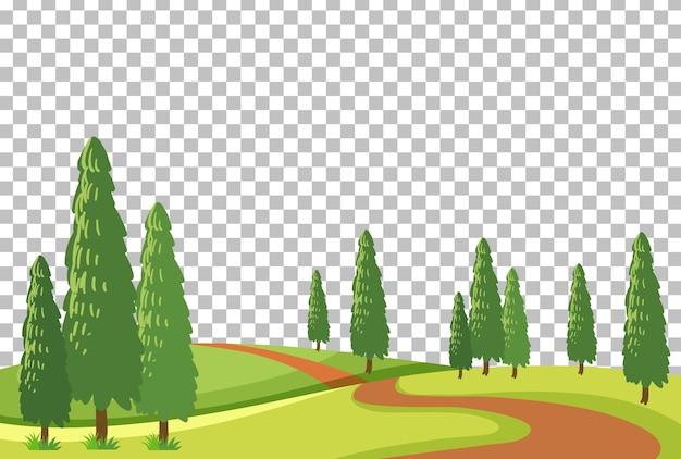 투명 배경에 빈 자연 공원 장면 풍경 무료 벡터