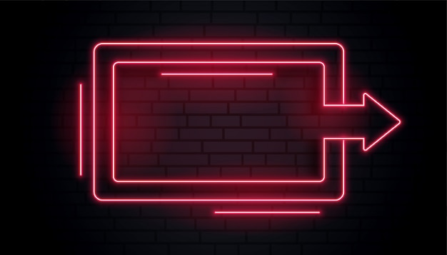 Blank neon arrow light frame Free Vector