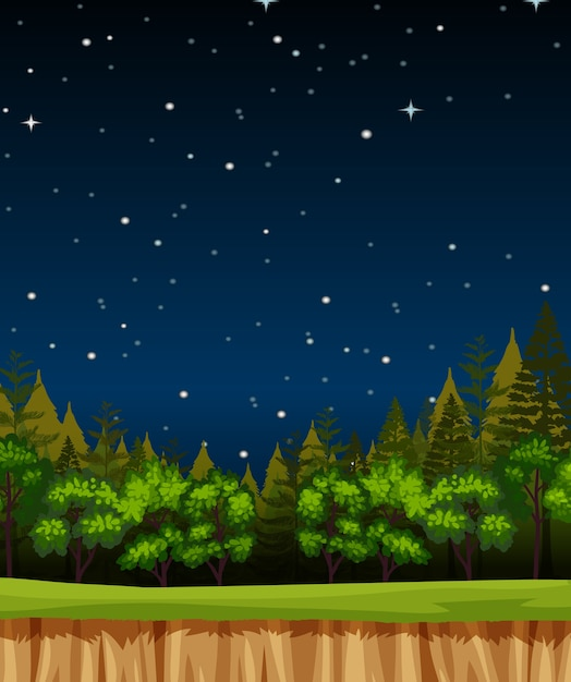 Blank night sky background scene with pines in the forest Free Vector