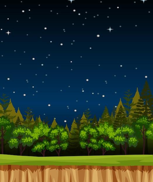 Пустое ночное небо фоновая сцена с соснами в лесу Бесплатные векторы