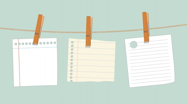 Blank note paper hanging on rope with wood Premium Vector