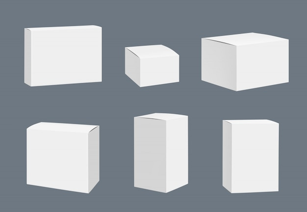 Blank packages mockup. quadrate white closed boxes containers  realistic template isolated Premium Vector