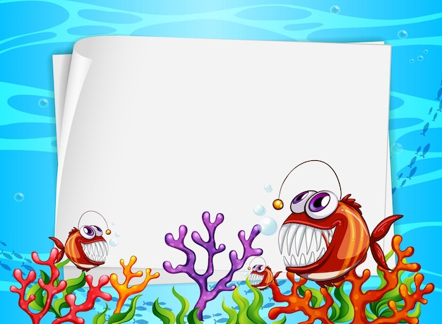 수중 배경에 이국적인 물고기와 해저 자연 요소와 빈 종이 배너 무료 벡터