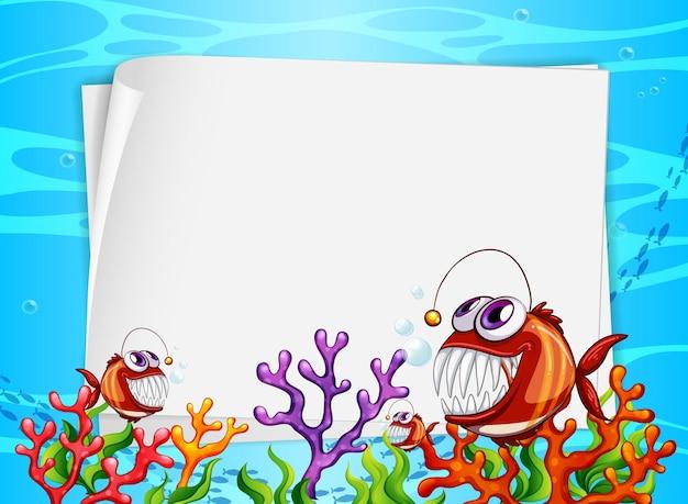 Banner di carta bianca con pesci esotici e elementi di natura sottomarina sullo sfondo subacqueo Vettore gratuito