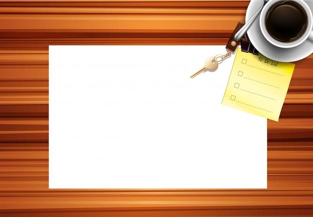 Blank paper desk background Free Vector