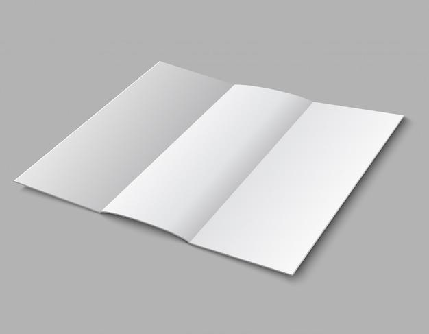 Blank paper folded leaflet. 3d white blank broadsheet  template Premium Vector