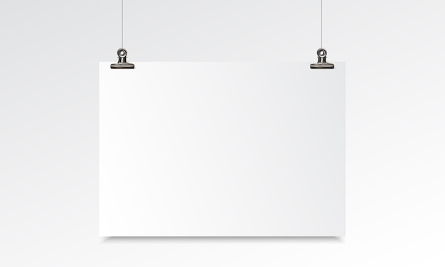 Blank paper realistic mockup with hanging and binder clip Premium Vector