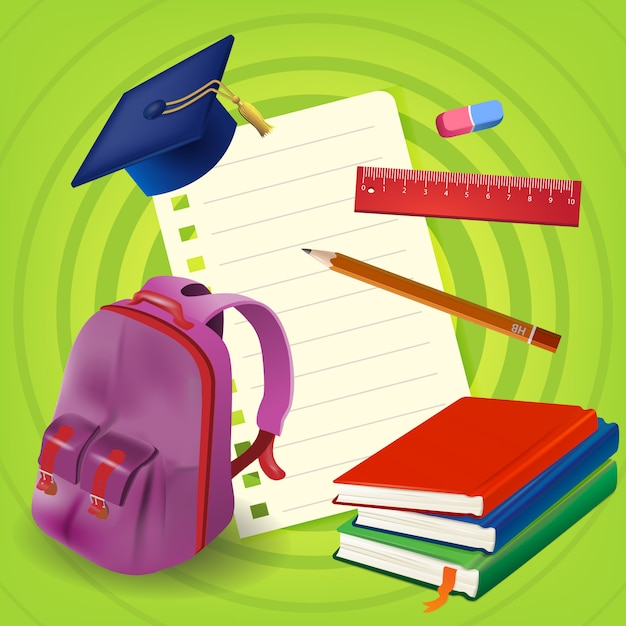 Blank paper sheet with backpack and books on green background Free Vector
