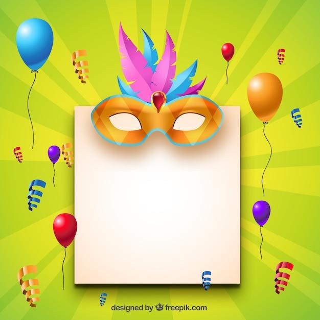 Blank paper with carnival decoration vector free download - Decoracion de carnaval ...