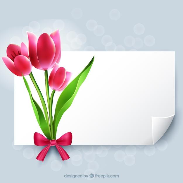 花と白紙 Premiumベクター