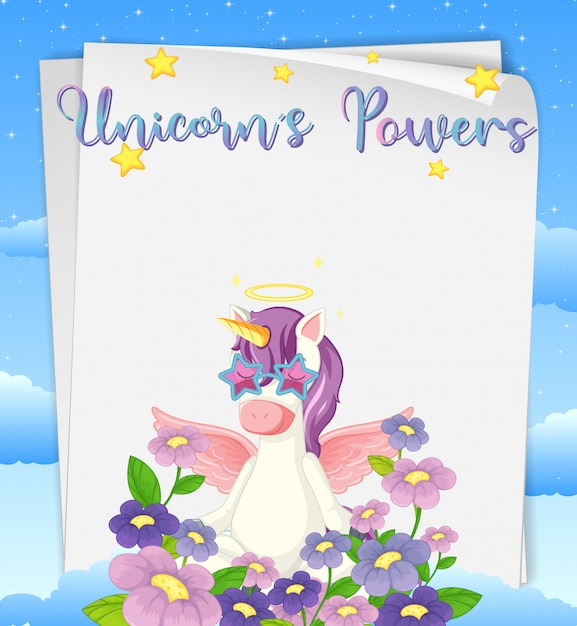 Чистый лист бумаги с логотипом силы единорогов на вершине с милым единорогом и цветами Бесплатные векторы