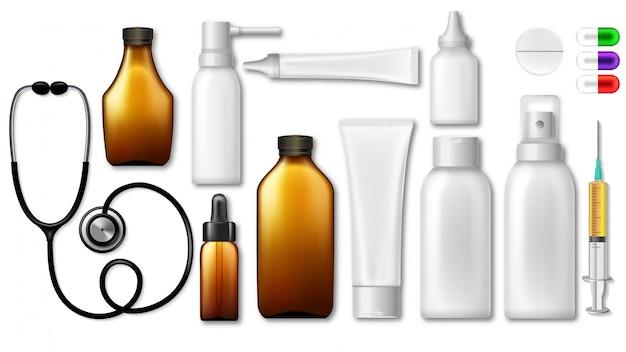 Blank pharmaceutical medical packaging Premium Vector