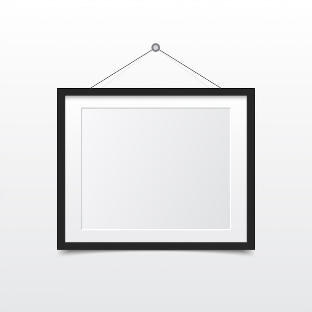 Blank photo frame on the wall. design for modern interior Premium Vector