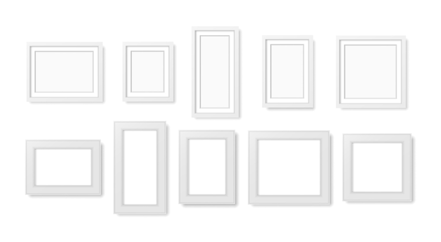 Blank photo frame on the wall. Premium Vector