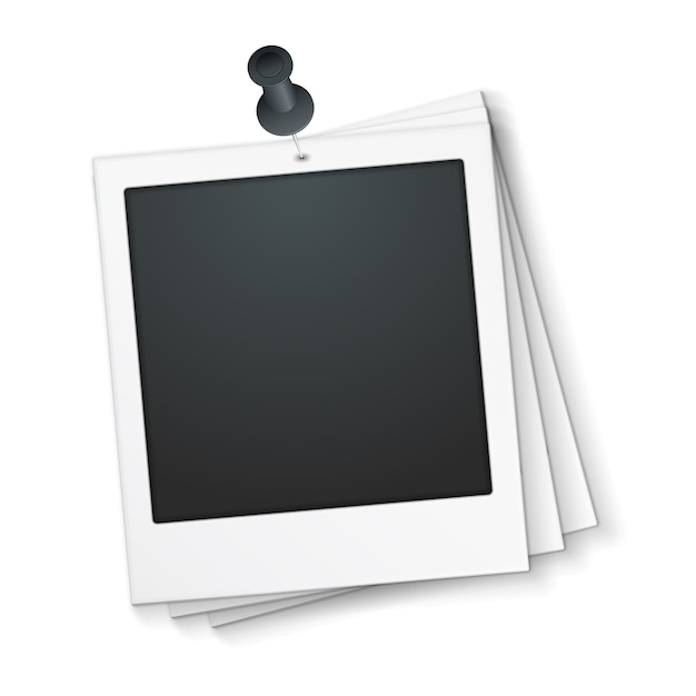 Blank photo frame with push pin, vector eps10 illustration Premium Vector