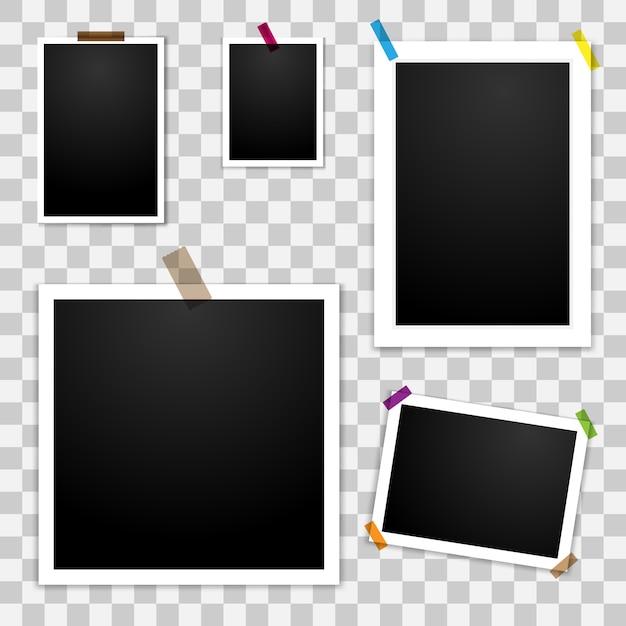 Blank photo frames set Premium Vector
