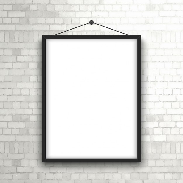 Blank picture frame hanging on a brick wall Vector | Free Download