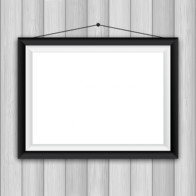 Blank Picture Frame On A Wooden Wall Background Vector