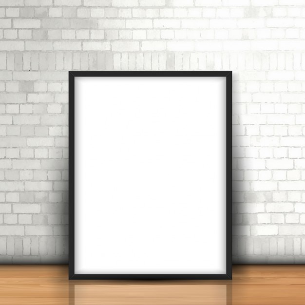 Blank picture leaning against a brick wall Free Vector