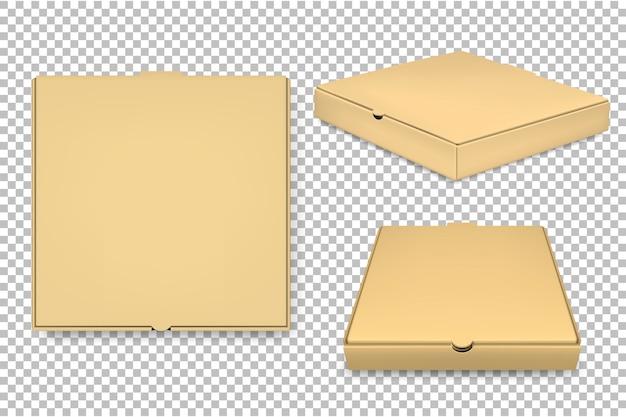 빈 피자 상자 템플릿 집합입니다. . 프리미엄 벡터