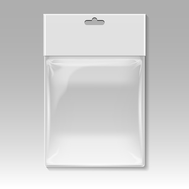 Blank plastic pocket bag vector template Premium Vector